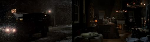 The natural lighting and snow obscure the visuals setting a tone of dread.